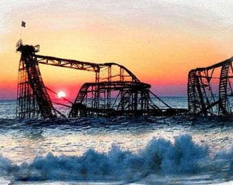 Roller Coaster After Sandy - Giclee Print