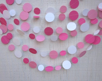 Pink Circle Paper Garland ,  Birthday Garland, Wedding Garland, Baby Shower Garland, Photo Prop