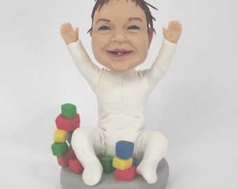 Custom figurines from your photos - Happy baby - 100% Money-Back Guarantee