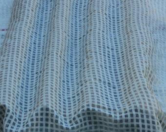 "White/Ivory Window Pane Checks 100% Silk Organza Fabric, 44"" Wide, By The Yard (TS-7525)"