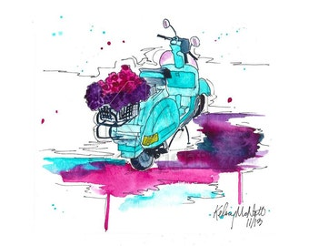 Turquoise Vespa Illustration Watercolor Painting Print - The Vespa - Home decor and wall art