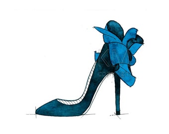 Louboutin High Heels, Fashion Illustration Watercolor Painting Print  --  Blue Home/office decor and wall art, Fashion prints