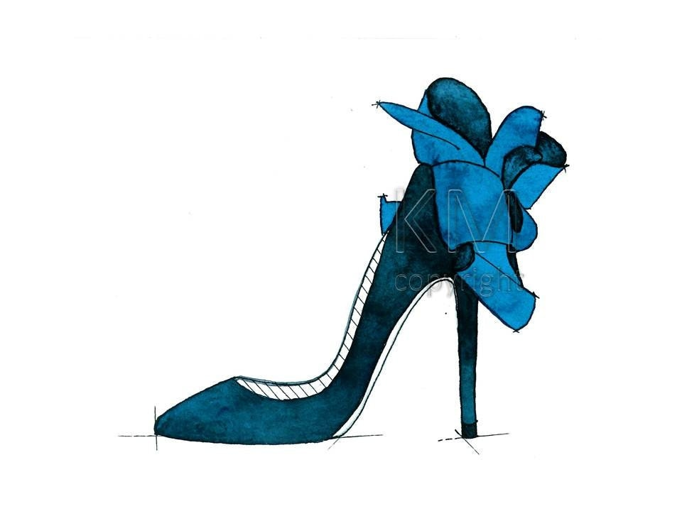 Louboutin High Heels Fashion Illustration Watercolor Painting