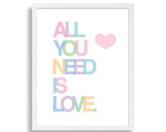 All You Need is Love Nursery Art Heart Nursery Decor Love Nursery Print Baby Girls Room The Beatles Nursery Art Pink Nursery Lyrics Art
