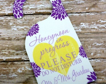 Custom Wedding Door Hanger {Double Sided} Reinforced Plastic-Bridal Suite-Groom's Suite-Honeymoon Suite-Wedding guest door hanger