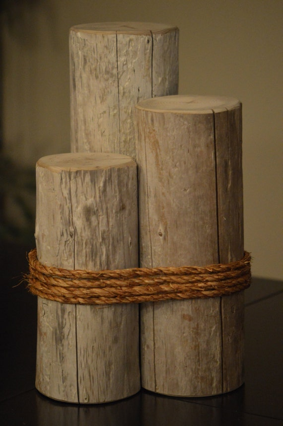 Decorative driftwood piling with rope by slacktied on etsy