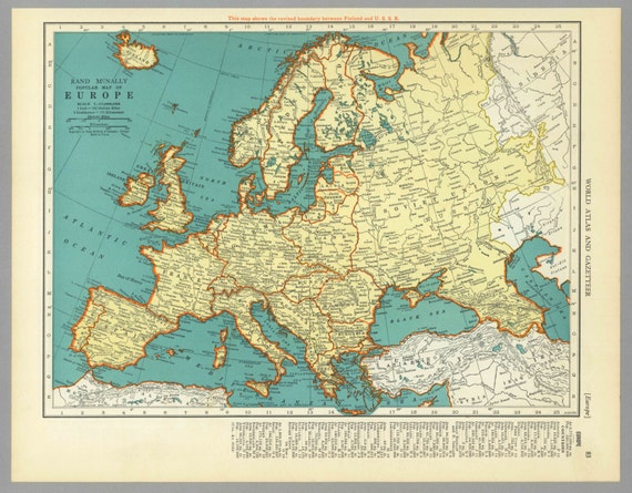 Antique Vintage Map Europe 1938 1930s by MeridiansMaps on Etsy