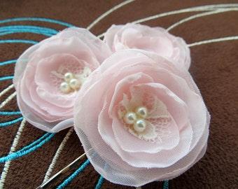 Blush pink wedding bridal flowers hair clips (set of 3), bridal hairpiece, bridal hair flower, wedding hair flower, wedding accessories