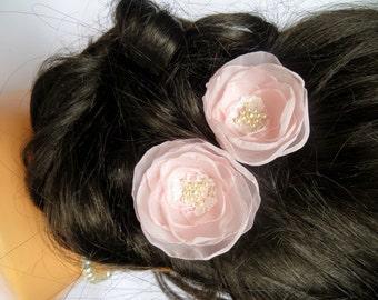 Blush Wedding bridal hair clips (2 pcs) , bridal hairpiece, bridal hair clips, bridal accessory, blush pink wedding clip,READY TO SHIP