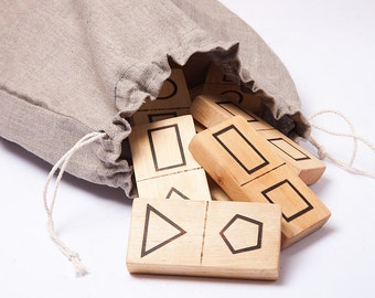 Geometric shape dominoes, eco friendly toy, kids wooden toys