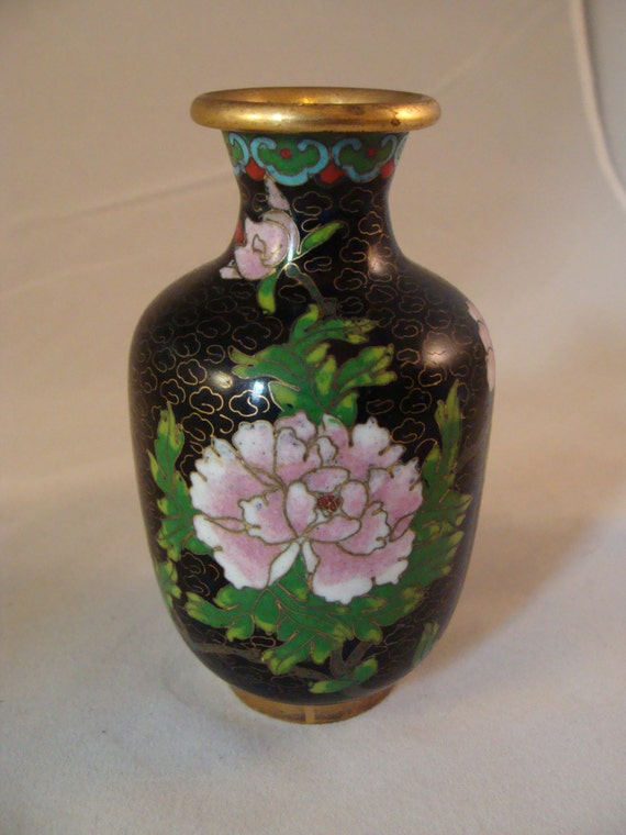 Antique Black Chinese Wire Cloisonne Vase With Famille Rose