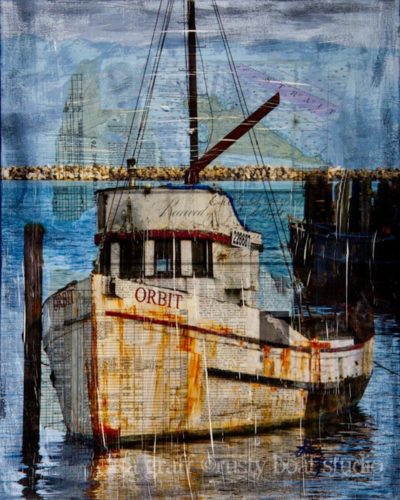 Rusty fishing boat paper print art mixed media 39 orbit for Fishing boat painting