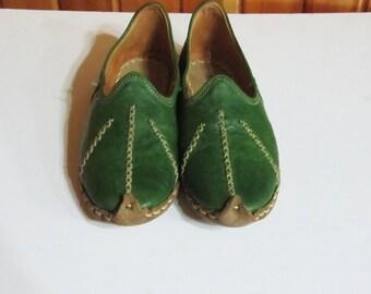 Turkish Yemeni Organic Hand Made Genuine Leather Shoes light green
