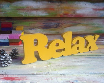 Relax Sign, Wall hanging, Shabby chic, cottage, wooden letters, home decor, wood sign, Housewares, Wall Decor
