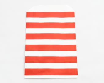RED PAPER BAGS (Set of 12) - Red Horizontal Stripe Flat Paper Bags (19cm x 12cm)