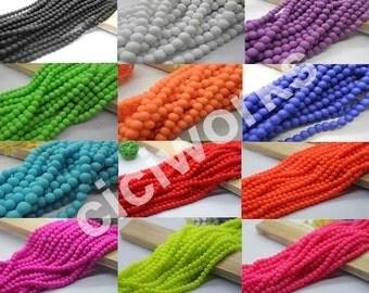 Wholesale 150pcs Matte Rubber Neon Round Glass Beads 6mm U Pick