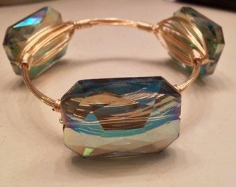 Green bluish crystal wire bangle
