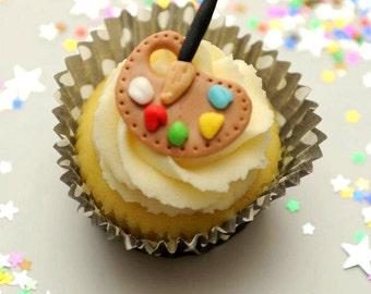 12 Artist Palette / Art paint Fondant Cupcake Toppers