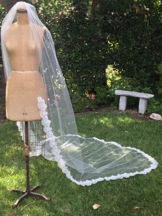Veil, Lace Wedding Veil,  Bridal Veil,  Alencon Lace, Cathedral Length Lace Edge Veil, French lace - KELLY Veil
