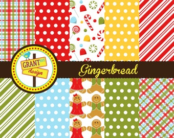 Gingerbread Digital Papers - Cute Digital Papers- Backgrounds for Invitations, Card Design, Scrapbooking, and Web Design