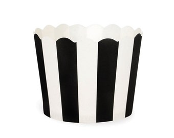Black and White Stripe Baking Treat Cup