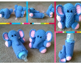 Crocheted Elephant Baby Bottle Cozy and Rattle Pattern