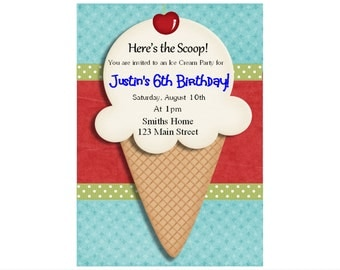 Boys Ice Cream Birthday Invitation, Ice Cream Invitation, Ice Cream Social, Ice Cream Cone 1st, 2nd , any age PRINTABLE DIY Digital purple