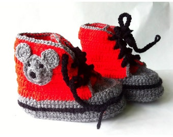 High top Sneakers Children Shoes Crochet Mouse Booties Kid Creepers - red grey
