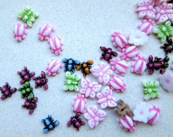 Vintage Lady Bugs, Butterflies and Bees Acrylic Mini Cabochons