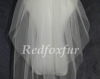 Wedding veil Two layer veil, simple bridal veil, cheap wedding veil, cutting edge veil + Comb