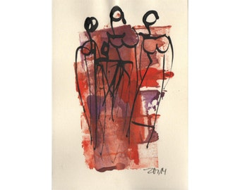 Ladies - people - Original Drawing with colored Ink and Bambu-Stick - free shiping red purple 8,27 x 5,51i
