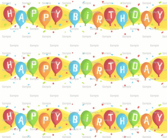 Happy Birthday Background - Designer Strips - Edible Cake Side Toppers- Decorate The Sides of Your Cake! - D6920