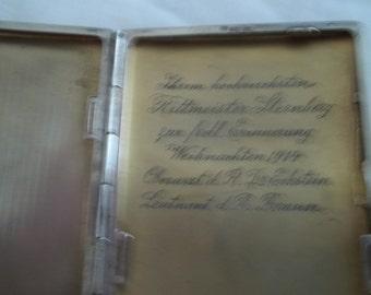 German WW1 engraved cigrette case dated 12-25-1914
