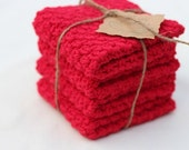 Crochet Dishcloths, Set of 4 Red Dishcloths, Gifts for Mom, Gift ideas