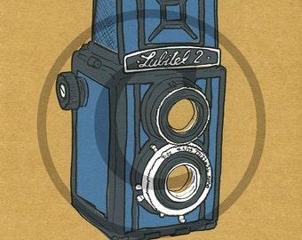Screenprint of Lubitel 2 TLR Camera - Four Layer Screenprint, Mid Grey/Blue on Brown Heavyweight Art Paper