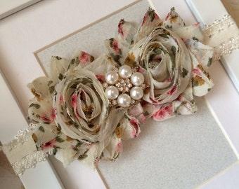 Floral headband,cream headbands,lace headbands,shabby chic headbands,floral print headbands,country headbands,baby headbands,girls headband