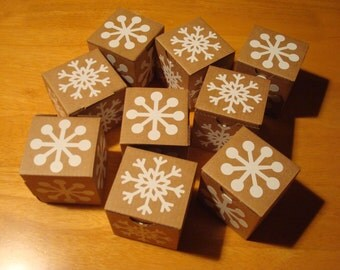 Set of 9 small square cardboard gift boxes decorated with snowflakes; gift boxes; Small gift boxes; Square cardboard gift boxes