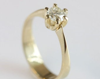0.50 carat Solitaire diamond engagement ring, engagement ring diamond ,14K Yellow Gold Ring , Women Jewelry, Size Selectable