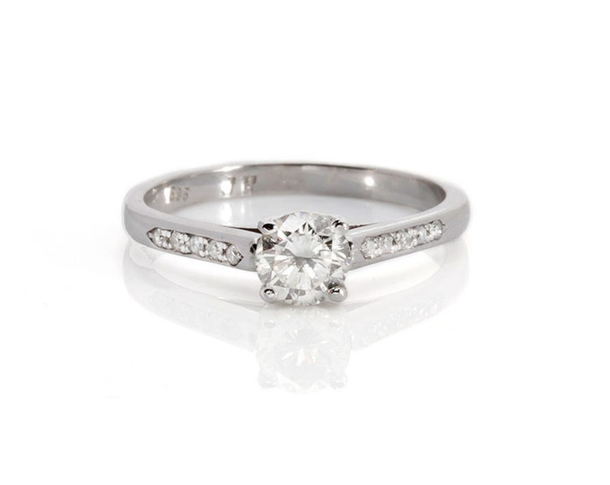 1/2 carat Engagement  Diamond Ring, Solitaire 14K White Gold Ring, Women Jewelry, Exclusive Gift, Size 7