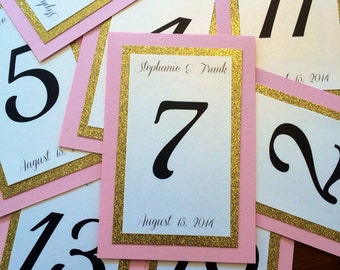 Sparkle Table Number Cards for Weddings and Events