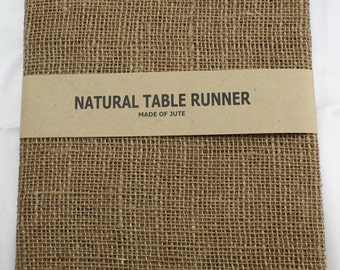 "Natural / Tan Burlap Table Runner 24"" x 108"" , rustic, country, weddings, finish edges, great for home decor. In other colors (BH-L12)"