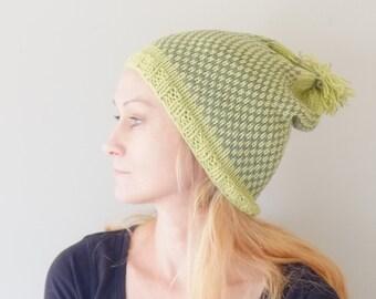 On Sale Pom Pom Beanie Hat In Green