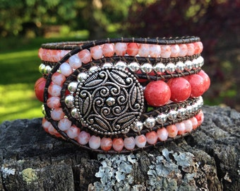 Coral and Silver Beaded Leather 5-Row Cuff Bracelet w/ Silver Button