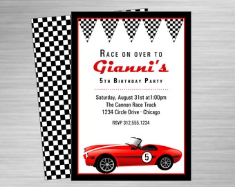 Retro Race Car printable party invitation