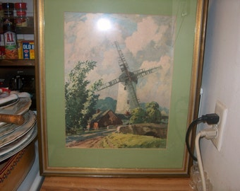 Vintage Art Windmill Print, Matted & Framed, WAS 30.00 - 30% = 21.00