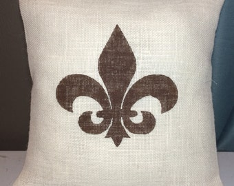 Custom made rustic country burlap Fleur De Lis pillow cover/sham - ivory burlap with brown fleur de lis