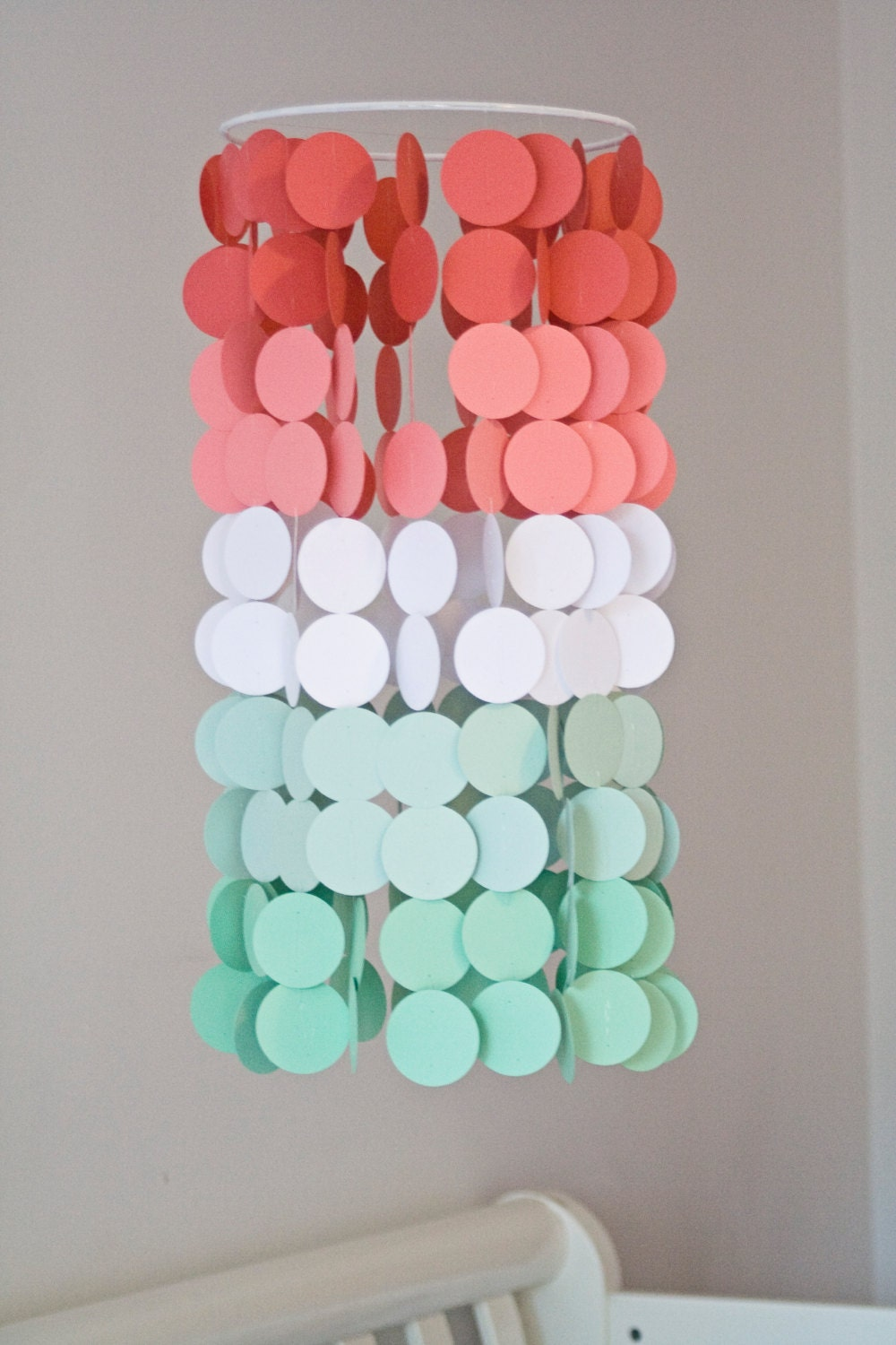 Coral And Mint Ombr 233 Paper Crib Mobile Modern Circle Mobile