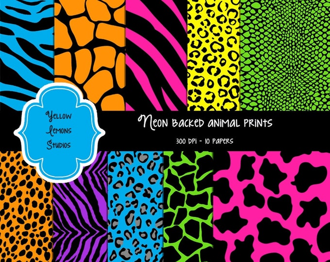 "INSTANT DOWNLOAD-Animal print Bright neon colors Texture Digital Scrapbooking Paper Pack, 12""x12"", 300 dpi .jpg"