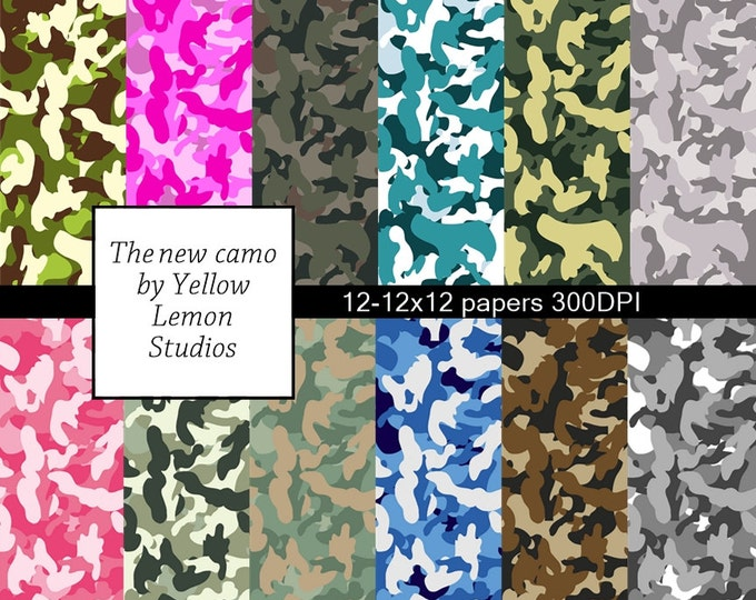 "Camouflage paper ""NEW CAMO"" Pink, blue, green, white, grey, variety of camo, Digital Scrapbooking Paper Pack, 12""x12"", 300 dpi .jpg"