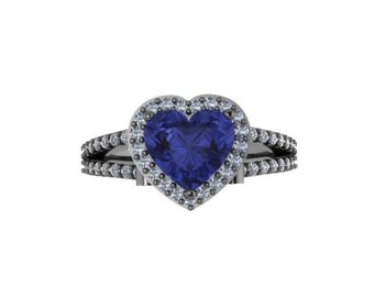 Diamond Engagement Ring Heart Shaped Blue Sapphire Engagement Ring 14K Black Gold with 8x8mm Blue Sapphire Center Marriage Bridal - V1083